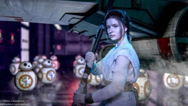 Rey and a couple BB-8s by hmcindie