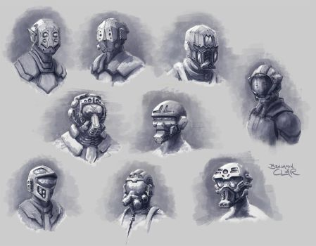 Helmet Sketches by mighty5cent