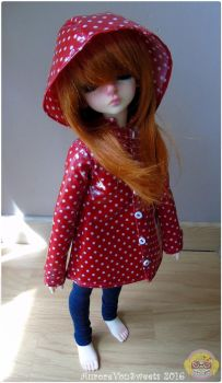 Doll Raincoat #1 Red with white dots by AuroreVonSweets