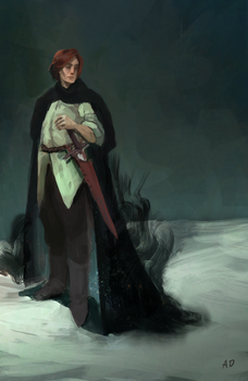 Kvothe with his Shaed by ACicco
