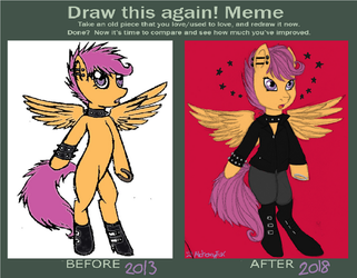Punk Scootaloo Before And After) by AlchemyFox