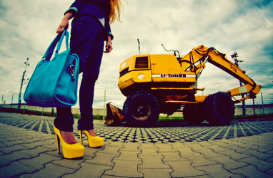 Colourful World with Heels: Yellow / Blue by punkroc