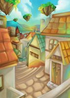 The Town with Flying Gardens by kagurafuuko