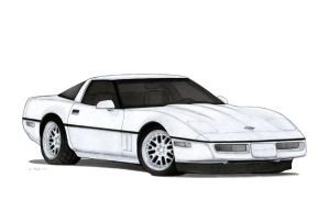 1990 Chevrolet Corvette ZR-1 (C4) Drawing by Vertualissimo