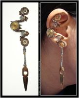 Swinging Steampunk ear cuff by Meowchee
