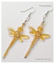 Beaded Dragonfly Earrings - Gold and Yellow by WhiteMagicPriestess