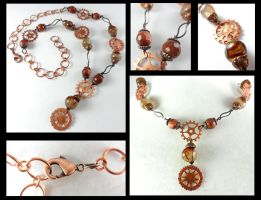 Antique Copper Steampunk Gear Necklace by DryGulchJewelry