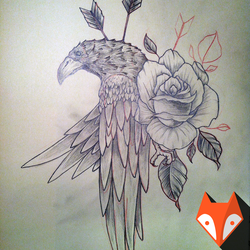 Raven and the Rose, freehand drawing by kvartalist