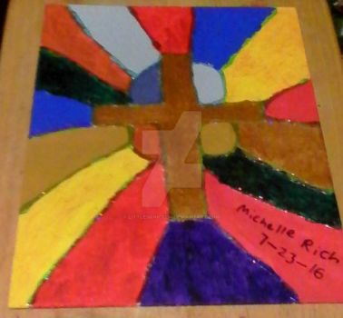 Glitter Glue Cross Painting by littlesonic1234
