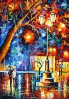 Winter Rain by Leonid Afremov by Leonidafremov