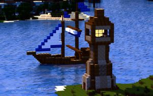 Sharthur City Project   Boat and Lighthouse by MinecraftPhotography