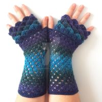 Galaxy Long Dragon Gloves by FearlessFibreArts