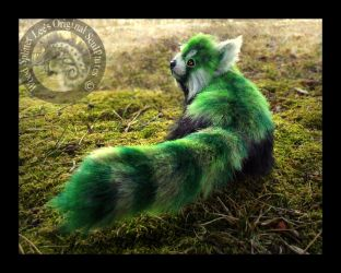 SOLD- Hand Made Poseable Fantasy Green Panda by Wood-Splitter-Lee