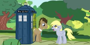 Dr. Whooves and Derpy bidding each other farewell by Marcoooootje1