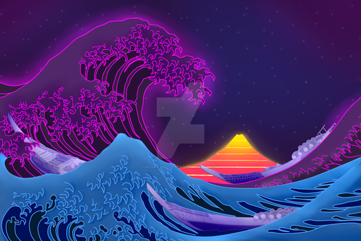 The Great Synthwave of Kanagawa by Heart-Pallette