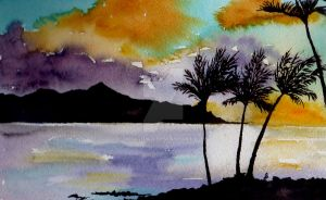 Sunset in Hawaii by aragonia