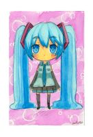 Chibi Miku watercolor by Charln