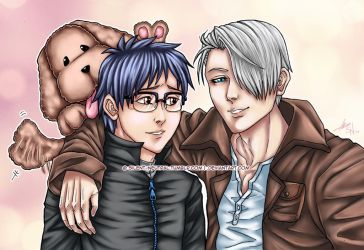 Yuri!!! on Ice - Vitya Yuuri Makkachin by Silent-Neutral