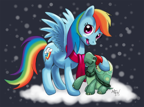 Rainbow Dash and Tank Christmas Trade by MEWZILLA