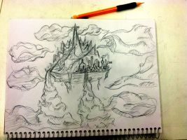 Island In The Sky Sketch by Hysterio0