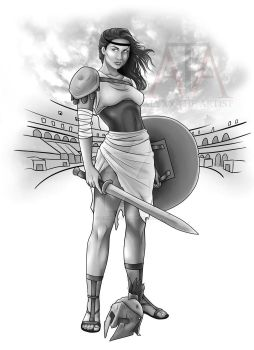 Gladiator Woman (Tattoo Design For Sale) by lexophile42