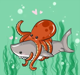 Mega Shark vs Giant Octopus by misi-chan
