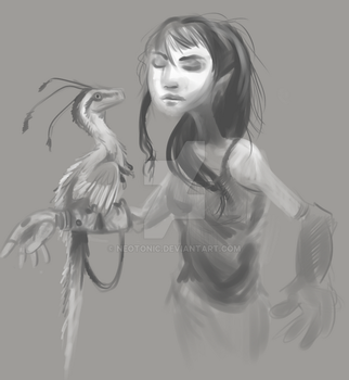 Girl with Velociraptor by neotonic