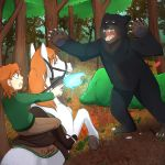 Commission: Bear Attacking by Foxhatart