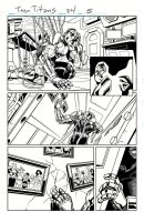 Teen Titans, Sample Art, Page 1 Inks by Hominids