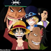 Luffy, Sabo, Kurohige, Dragon And Fujitora by maynardbrian