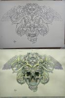 Tattoo design - Winged lion and skull by Xenija88