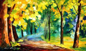 November Park by Leonid Afremov by Leonidafremov