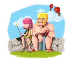 Archer and Barbarian by halie-tee