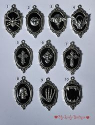 Gothic Frame Necklaces, black background by TheLovelyBoutique
