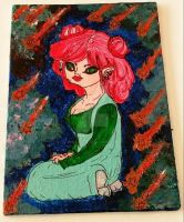 5x7 Pink Haired Girl by wolf-girl87