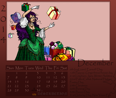 December 2014 Calendar by Snowy-Dragoness