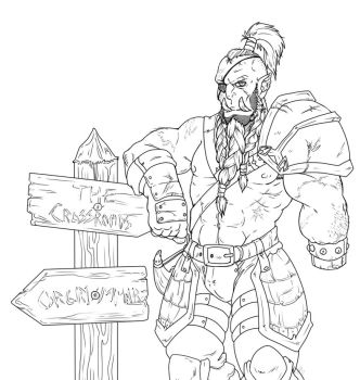 Orc At The Crossroads by Sunkaro