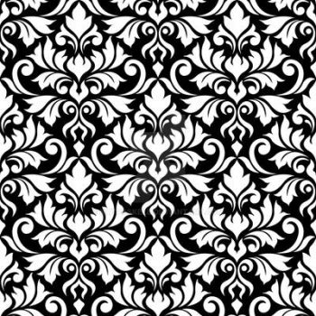 Flourish Damask Ptn White on Black by NatPaskell
