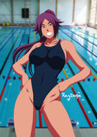 Yoruichi in swimmingpool by RayDopeSan