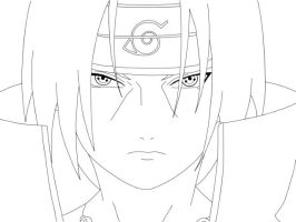 Lineart: Itachi. by boing-paradise