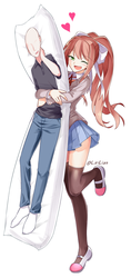 Monika with a Player pillow by LiriLias