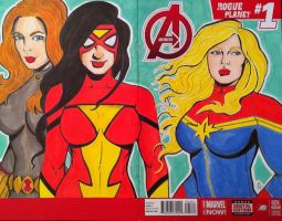 Captain Marvel/ Spider Woman/ Black Widow by seanpatrick76