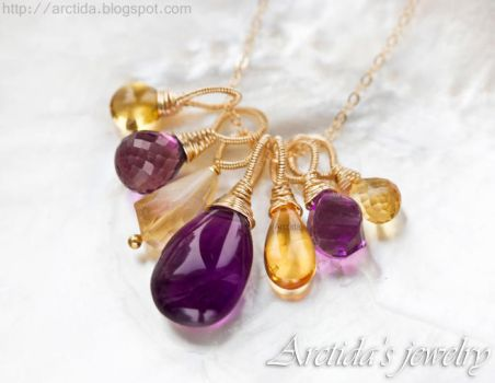 *Chloe* Citrine and Amethyst necklace by Arctida