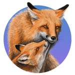 Mother fox with pup by silvercrossfox