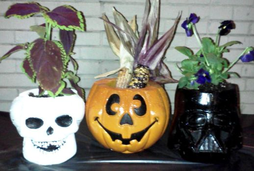 Halloween Concrete Planters by Orion12212012
