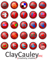 Red Button Social Media Icons by claycauleyinc