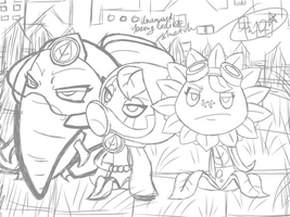PvZ Heroes-Unamused young ladies sketch by CrystiliaLance