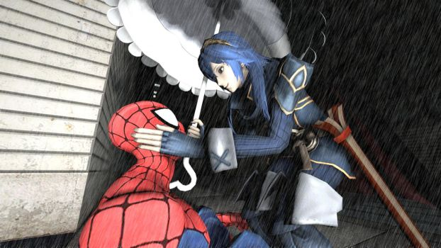 Lets get you out of the rain Spidey by kongzillarex619