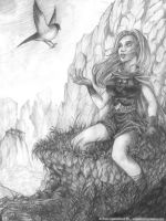 The young woman and the bird by Agalanthe
