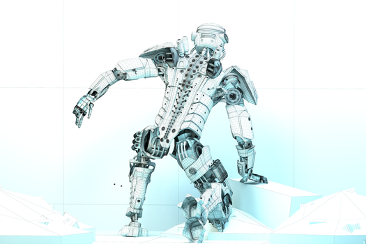 Mech Android Warrior Wireframe Back View 3d by cytherina